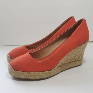 J Crew Canvas Espadrille Wedge Sz8 Orange